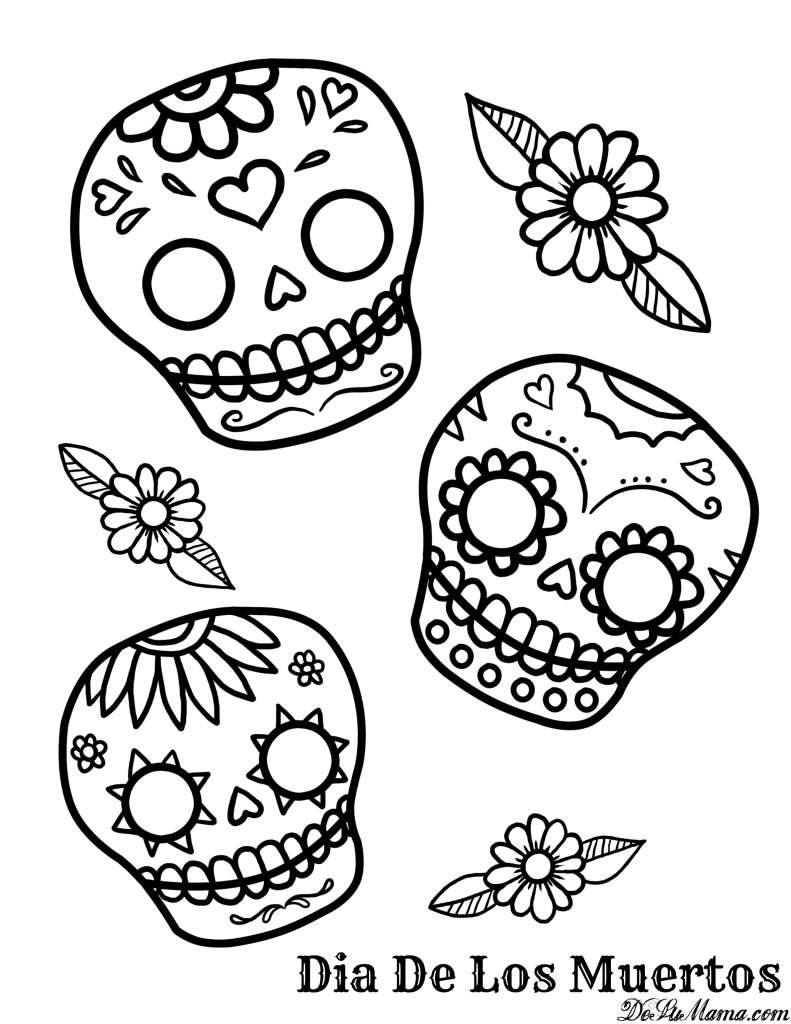 dia de los muertos coloring pages printable - mexican day of the dead art and free printables
