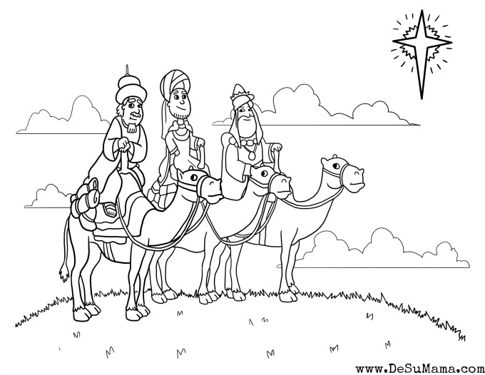 Three Kings Coloring Pages for Preschoolers - Los Tres Reyes
