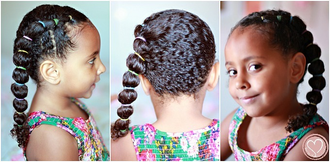 Curly Biracial Hairstyles Banded Ponytail