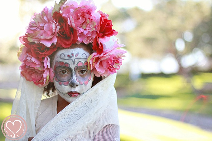 ae7cd39f3 Day of the Dead DIY Floral Crown for Little Girls